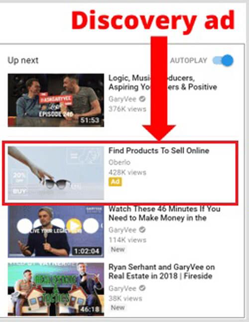 تبلیغ ویدیویی گوگل در سرچ یوتیوب ستون سمت راست (discovery ads)