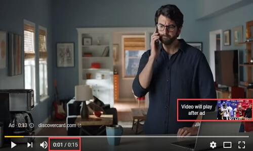 تبلیغ ویدیویی گوگل در زمان پخش ویدیو بدون قابلیت رد کردن تبلیغ